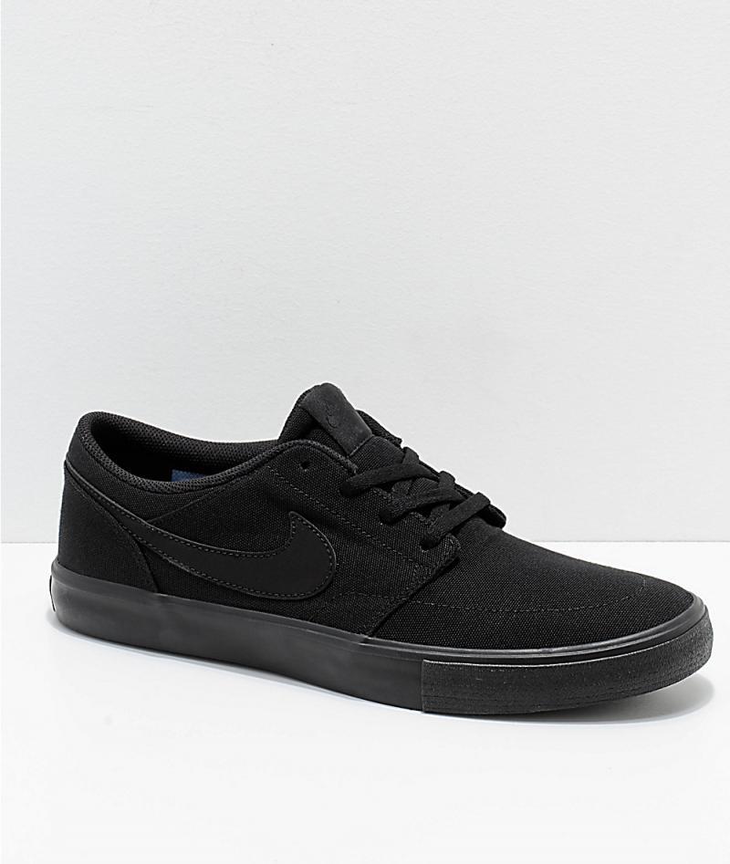Mens Black Skate Shoes - Nike SB Portmore II All Black Canvas ...